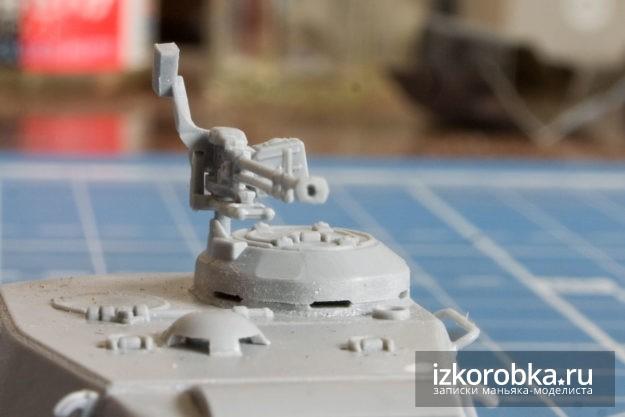 Просверленный ствол пулемета на модели танка ИС-2 от Звезды в масштабе 1/72