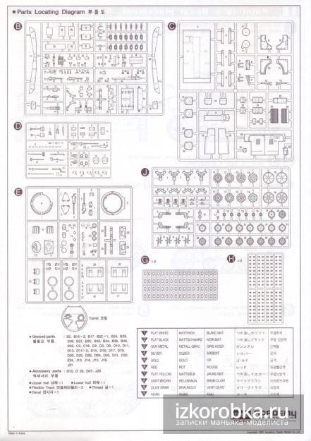 Схема деталей на литниках