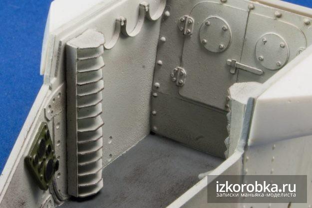 Окраска отсека экипажа модели танка Т-18 МС-1