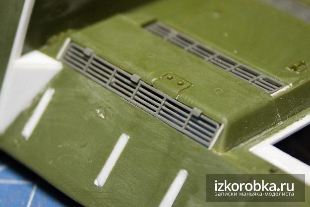 Модель СУ-100. Установка решеток МТО