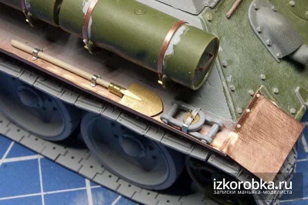 СУ-100. Лопата и петли