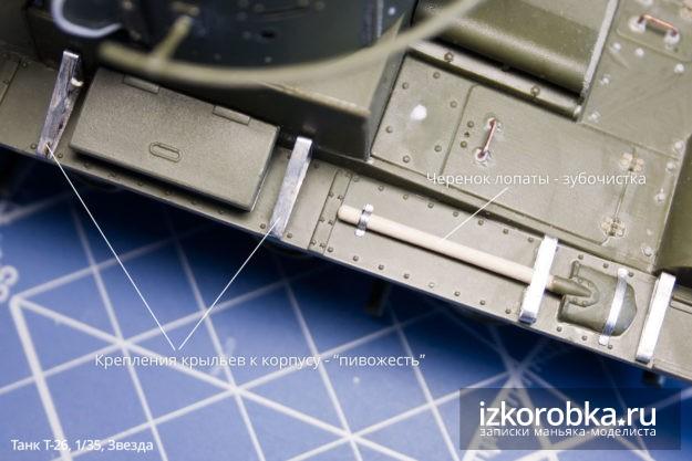 Сборная модель танка Т-26. Крепление крыльев к корпусу и черенок лопаты
