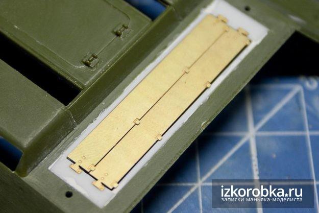 СУ-100. Примерка жалюзи двигательного отсека