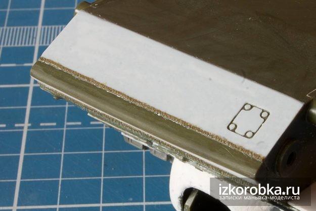 СУ-100. Сварной шов между передней балкой и нижней бронеплитой корпуса
